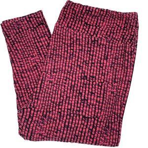 Lularoe Leggings Tall Curvy Black Pink Pattern